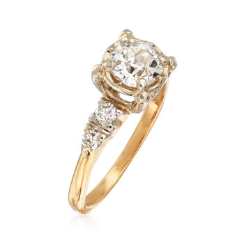 C. 1970 Vintage 1.10 ct. t.w. Diamond Engagement Ring in 14kt Yellow Gold. Size 6.5, , default