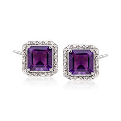 8.00 ct. t.w. Amethyst and .19 ct. t.w. Diamond Earrings in Sterling Silver, , default