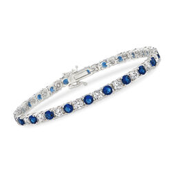 "Simulated Sapphire and 5.70 ct. t.w. CZ Tennis Bracelet in Sterling Silver. 7.5"", , default"
