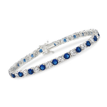"""Simulated Sapphire and 5.70 ct. t.w. CZ Tennis Bracelet in Sterling Silver. 7.5"""", , default"""