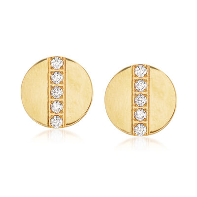 .30 ct. t.w. CZ Button Stud Earrings in Gold-Plated Stainless Steel, , default