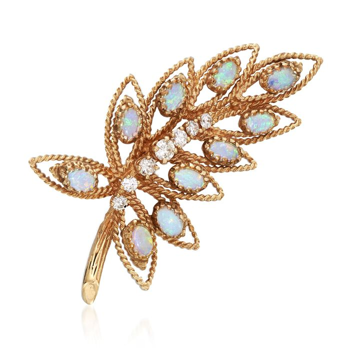 C. 1970 Vintage Opal and .65 ct. t.w. Diamond Leaf Pin in 14kt Yellow Gold, , default