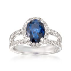 2.40 Carat Sapphire and .75 ct. t.w. Diamond Ring in 14kt White Gold, , default
