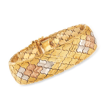 C. 1970 Vintage 14kt Tri-Colored Gold Bracelet, , default