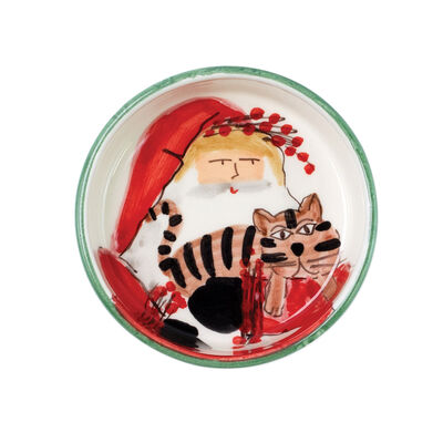 """Vietri """"Old St. Nick"""" Cat Bowl from Italy"""