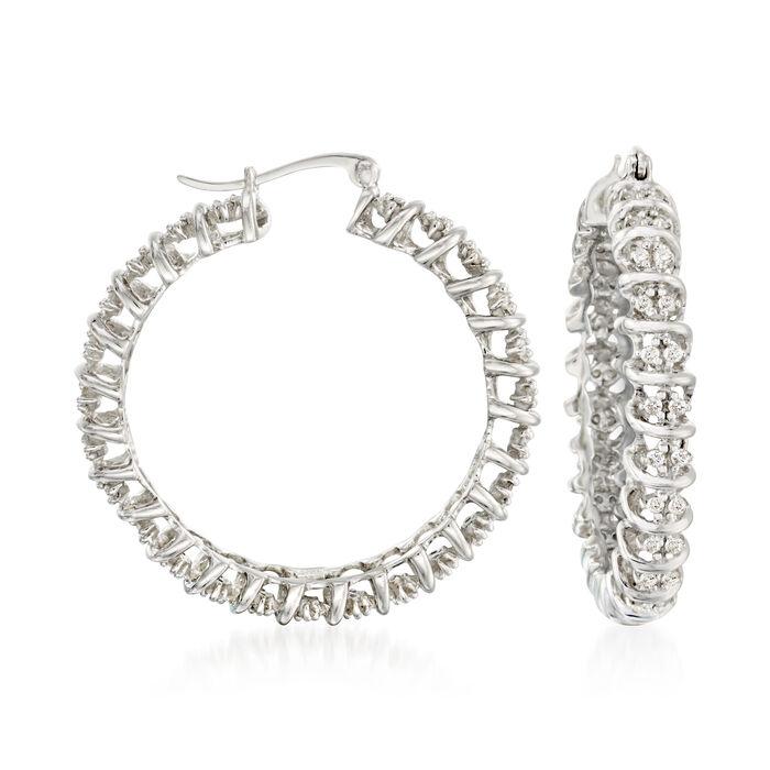 """1.00 ct. t.w. Diamond Hoop Earrings in Sterling Silver. 1 3/8"""""""
