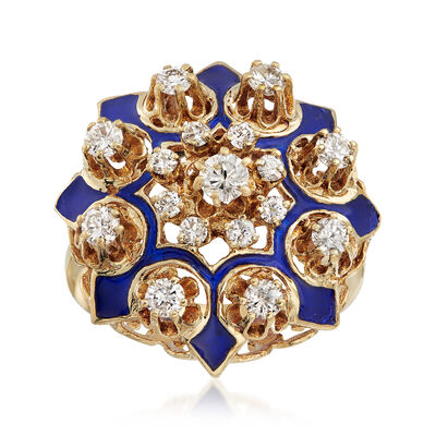 C. 1950 Vintage .90 ct. t.w. Diamond Cluster Ring with Blue Enamel in 14kt Yellow Gold