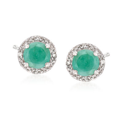 .95 ct. t.w. Round Emerald Stud Earrings with Diamond Accents in Sterling Silver