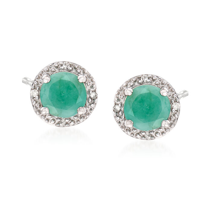 .95 ct. t.w. Round Emerald Stud Earrings with Diamond Accents in Sterling Silver, , default