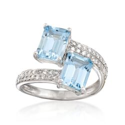 2.70 ct. t.w. Aquamarine and .30 ct. t.w. Diamond Bypass Ring in 14kt White Gold, , default