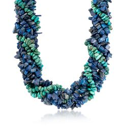 "Lapis and Turquoise Torsade Necklace With Sterling Silver. 18"", , default"
