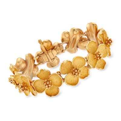 C. 1990 Vintage Tiffany Jewelry Dogwood Flower Bracelet in 18kt Yellow Gold, , default