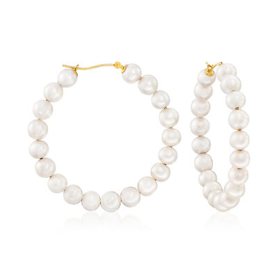 6-7mm Cultured Pearl Hoop Earrings in 14kt Yellow Gold