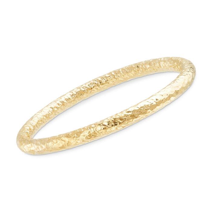 Italian 18kt Yellow Gold Over Sterling Silver Hammered Bangle Bracelet