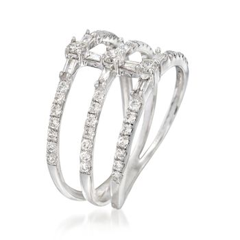 .66 ct. t.w. Diamond Three-Row Ring in 14kt White Gold, , default