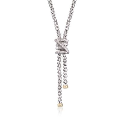 "Phillip Gavriel ""Popcorn"" .13 ct. t.w. Diamond X Lariat Necklace in Sterling Silver and 18kt Gold, , default"