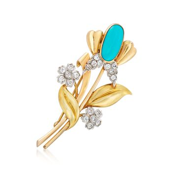 C. 1950 Vintage Tiffany Jewelry Turquoise and 1.60 ct. t.w. Diamond Floral Pin in 18kt Yellow Gold, , default