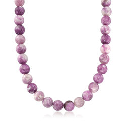 12mm Pink Lepidolite Bead Necklace With Sterling Silver, , default