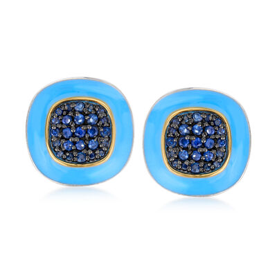 .30 ct. t.w. Sapphire and Blue Enamel Earrings in Sterling Silver and 14kt Yellow Gold, , default