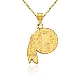 "14kt Yellow Gold NFL Washington Redskins Pendant Necklace. 18"", , default"