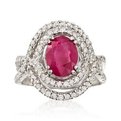 2.20 Carat Ruby and .81 ct. t.w. Diamond Swirl Ring in 14kt White Gold, , default