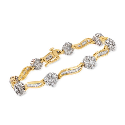 C. 1980 Vintage 4.00 ct. t.w. Baguette and Round Diamond Flower Bracelet in 14kt Yellow Gold