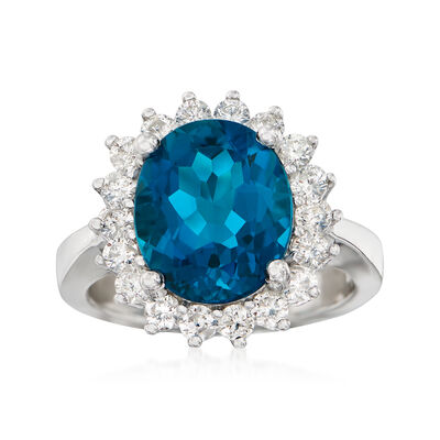5.50 Carat Blue Topaz and 1.00 ct. t.w. Diamond Ring in 14kt White Gold, , default