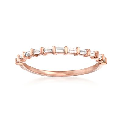 .16 ct. t.w. Baguette Diamond Band Ring in 14kt Rose Gold, , default