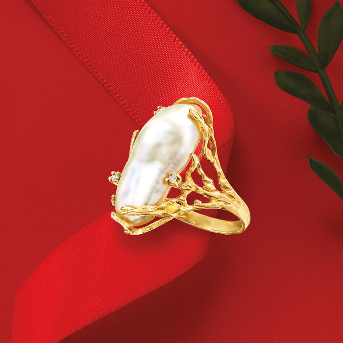 10x24mm Cultured Biwa Baroque Pearl Ring with Diamond Accents in 14kt Yellow Gold