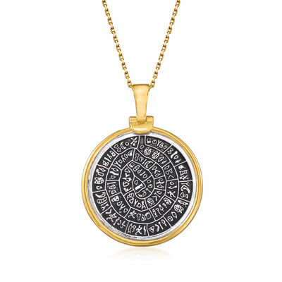 Two-Tone Sterling Silver Replica Greek Coin Pendant Necklace