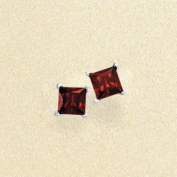 2.30 ct. t.w. Princess-Cut Garnet Stud Earrings in Sterling Silver