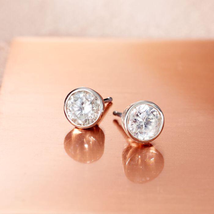 1.00 ct. t.w. Bezel-Set Diamond Stud Earrings in 14kt White Gold