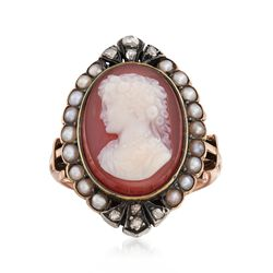 C. 1880 Vintage Agate Cameo and Cultured Pearl Ring With Diamonds in Sterling Silver and 18kt Gold. Size 6.25, , default
