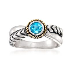 "Andrea Candela ""Rodeo"" .60 Carat Blue Topaz Ring With 18kt Gold in Sterling Silver, , default"