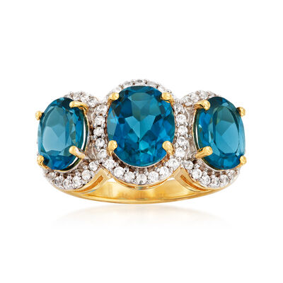 6.70 ct. t.w. London Blue Topaz and .90 ct. t.w. White Topaz Three-Stone Ring in 18kt Gold Over Sterling, , default