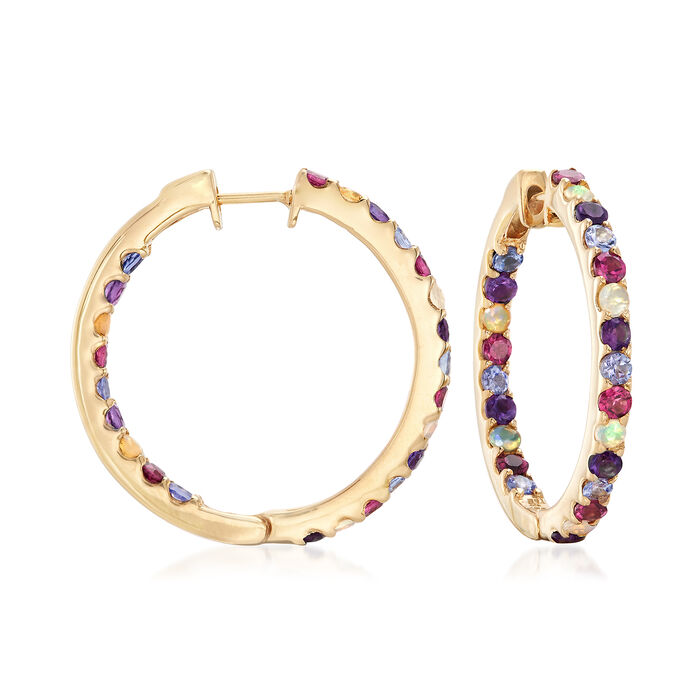 Opal and 2.20 ct. t.w. Multi-Stone Inside-Outside Hoop Earrings in 18kt Gold Over Sterling. 1""