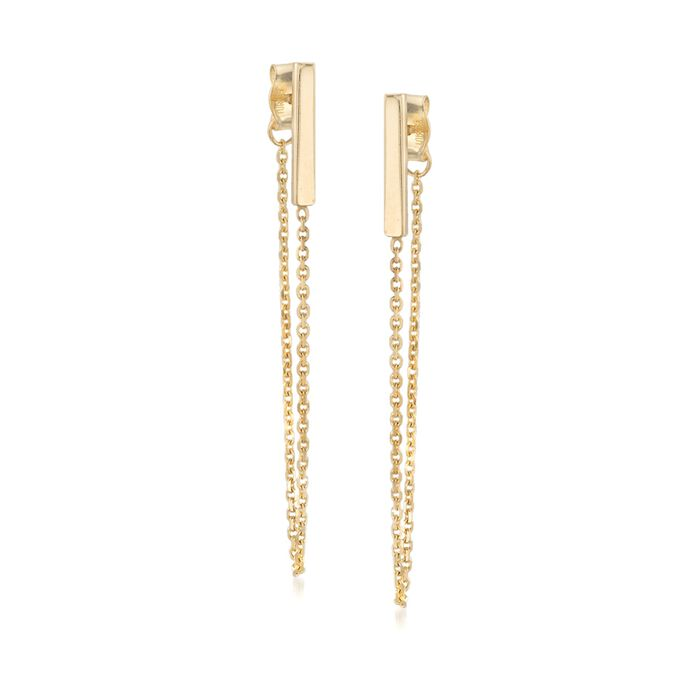 14kt Yellow Gold Bar and Chain Front-Back Drop Earrings , , default