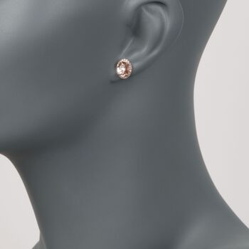 2.20 ct. t.w. Morganite and .20 ct. t.w. Diamond Stud Earrings in 14kt Rose Gold Over Sterling Silver