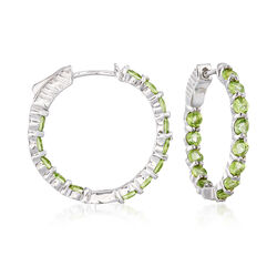 "2.90 ct. t.w. Peridot Inside-Outside Hoop Earrings in Sterling Silver. 7/8"", , default"