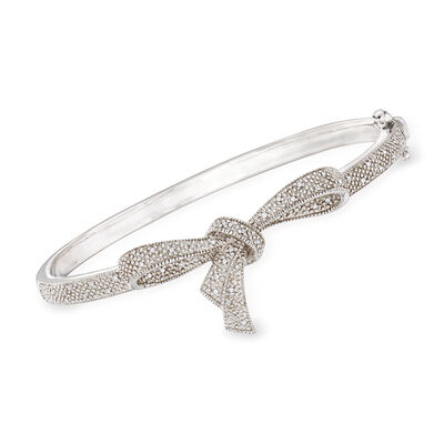 .15 ct. t.w. Diamond Bow Bangle Bracelet in Sterling Silver, , default