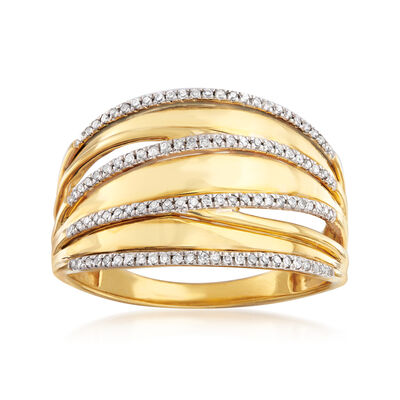 .20 ct. t.w. Diamond Highway Ring in 18kt Gold Over Sterling, , default