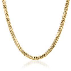 Men's 6.7mm 14kt Yellow Gold Cuban-Link Chain Necklace, , default