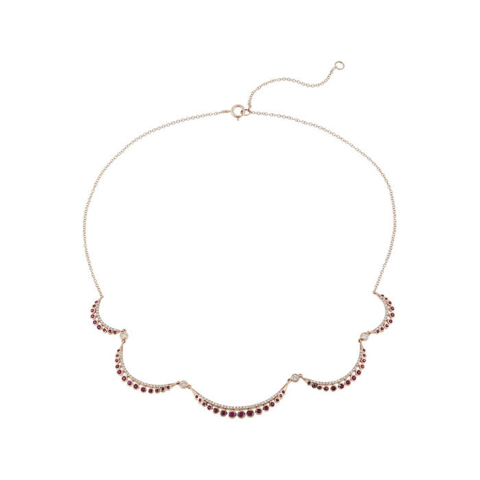.70 ct. t.w. Ruby and .50 ct. t.w. Diamond Scalloped Necklace in 14kt Rose Gold. 13""