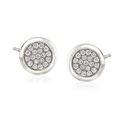 .41 ct. t.w. Pave Diamond Round Earrings in 14kt White Gold, , default