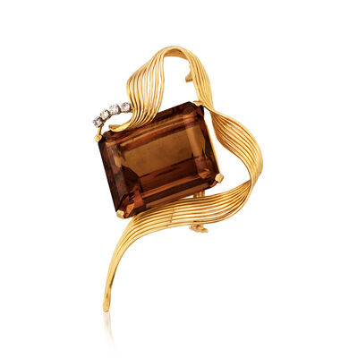 C. 1950 Vintage 51.50 Carat Citrine and .16 ct. t.w. Diamond Pin in 18kt Yellow Gold