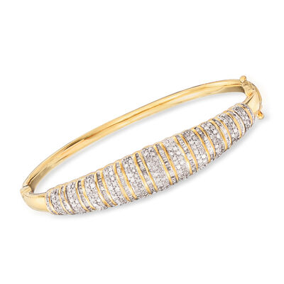 2.00 ct. t.w. Diamond Linear Bangle Bracelet in 18kt Yellow Gold Over Sterling Silver, , default