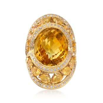 C. 1980 Vintage 14.50 Carat Citrine and 5.00 ct. t.w. Yellow Sapphire Ring With .85 ct. t.w. Diamonds in 18kt Gold. Size 8, , default