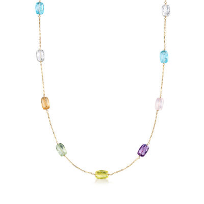 52.50 ct. t.w. Multi-Stone Station Necklace in 14kt Yellow Gold, , default