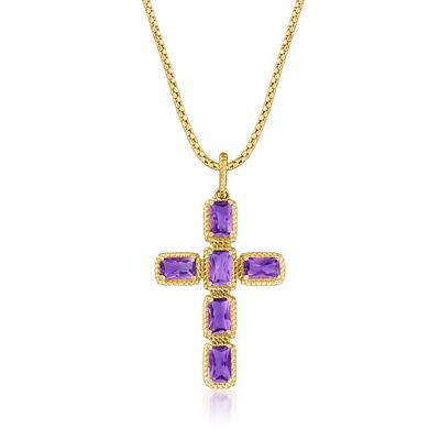 1.70 ct. t.w. Amethyst Cross Pendant in 14kt Yellow Gold