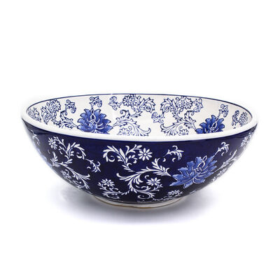Blue Garden Handpainted Flower Fruit Bowl in Porcelain, , default